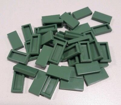 Lego x 5 Green Tile 1x2 with Groove 3069b NEUF