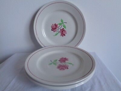 4 Vintage French Floral Hand Painted China Tea Side Salad Dessert Plates
