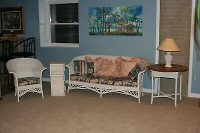 wicker furniture set - couch, chair, end table, lamp and magazine/end table