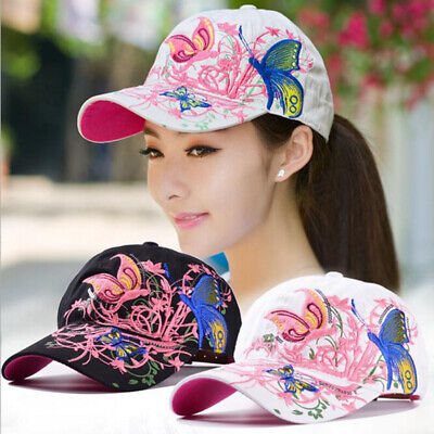 AKIZON Baseball Cap For Women With Butterflies And Flowers Adjustable Embroidery