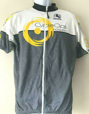 51ffa0a21 Classy GIORDANA CYCLE OPS Power Cycling Jersey White Grey Yellow Full Zip XL