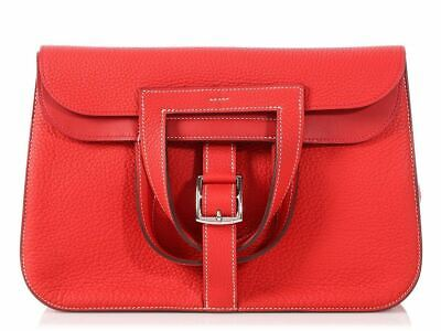 976481a3301d HERMES 2016 Rouge Tomate and Vermilion Clemence Halzan 31 Bag ~ Ravishing  red!