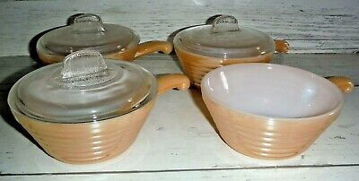 4 Vtg Fire King Oven Ware Beehive Peach Lustre Handled Soup Chili Bowls 3 Lids
