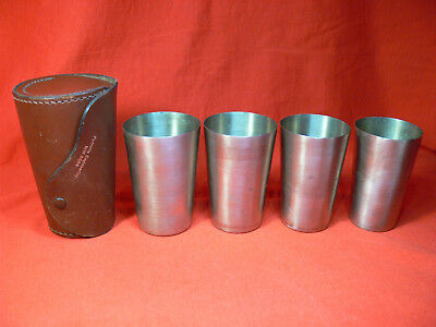 VINTAGE Set of 4 NICKEL-SILVER Stacking TRAVEL CUPS in Leather Case RETRO 70's