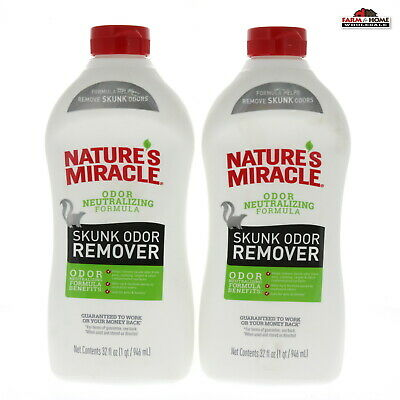 (2) Nature's Miracle Skunk Odor Remover Neutralizer 32oz ~ New