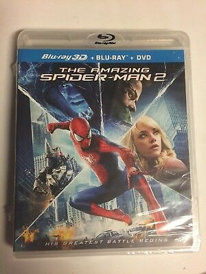 The Amazing Spider-Man 2 (Blu-ray/DVD,2014,3-Disc Set,2D&3D) Brand New! No Code
