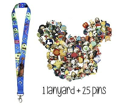 Disney Pins!! Monsters Inc Lanyard + 25 Trading Pins + Pin Trading Guide - New!
