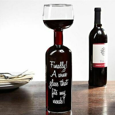 2 x Wine Bottle Glass Holds 750ml Red White Wine Champagne Birthday Novelty