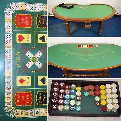 Antique 1930s Illegal Chicago Speakeasy Casino Gambling Poker Blackjack Table