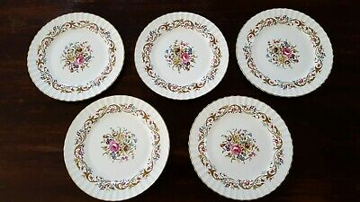 5 Royal Worcester China  Bournemouth Pattern Dinner Plates Excellent Condition