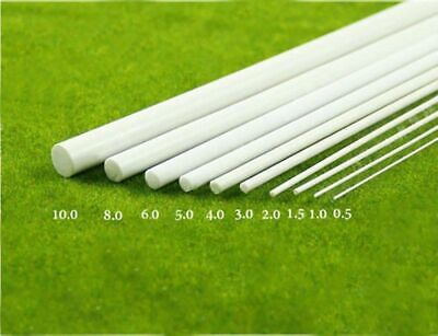 5x White ABS Plastic Rod Round Solid Bar DIY Model Material 250mmx1/2/3/4/5/6mm