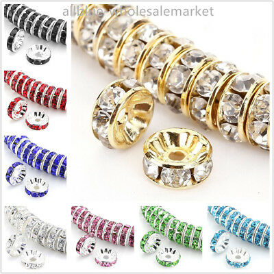 TOP 100Pcs Spacer Beads Czech Crystal Rhinestone Round Rondelle Tone 6 8mm AAA++
