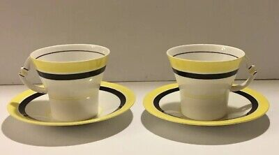 Rare Royal Albert Crown China Art Deco White Black Yellow Pair Of Cups & Saucers