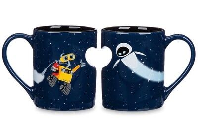 DISNEY PARKS AUTHENTIC 12 oz WALL-E EVE COFFEE MUG CUP BOX LOVE HEART SET 2 NIB