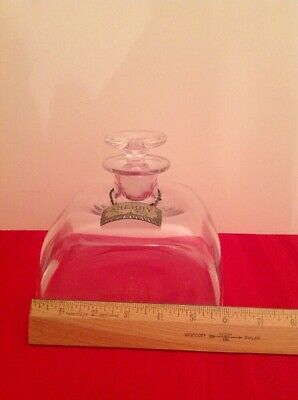 Vintage Glass Square Sherry Decanter And Sterling Silver SHERRY Label