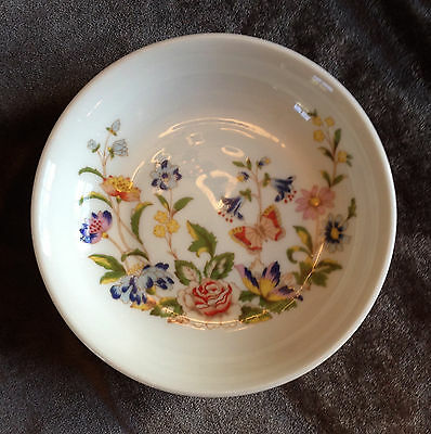 """Aynsley Bone China COTTAGE GARDEN Coaster or Pin Tray Floral Butterfly 4-3/8"""""""