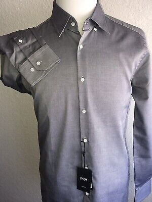 ca6233808 NWT $255 Hugo Boss Mens T-Swen Slim Fit Tailored Charcoal Dress Shirt Size  43