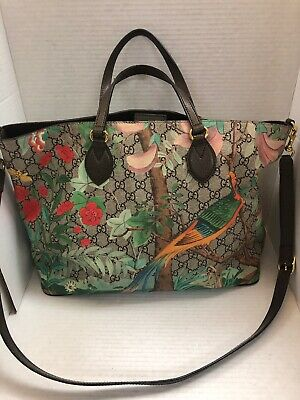 dc41e67e0c388c GUCCI BROWN LEATHER, Tian Print, GG Bloom with Bird and Flowers Tote ...