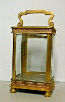 Antique Fancy French Brass Lantern / Carriage Clock Case Brass & Glass