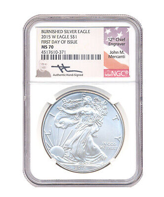 2015-W Burnished $1 American Silver Eagle NGC MS70 First Releases WPSS FR Label