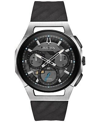 Bulova Curv 98A161 Men's Chronograph Grey Dial Rubber Strap 44mm Case Watch