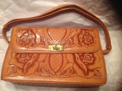Vintage Hand Tooled Leather Double Sided Purse, Good Condition