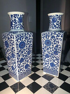 Fine Chinese Antique Porcelain Square Sided Vase China Blue And White Flower