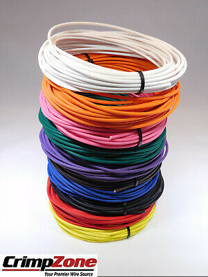 WHITE AUTOMOTIVE  WIRE 20 GAUGE HIGH TEMP TXL  25 FEET STRIPED AVAILABLE
