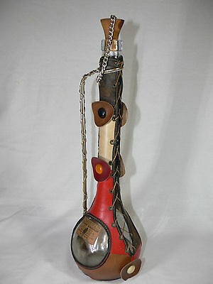 VINTAGE Spanish Coloured Leather Wrapped Glass Wine Decanter/Bottle - RETRO BAR