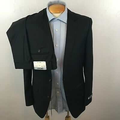 New dkny 2 piece mens suit solid black slim fit 38r 100% wool jacket pant ea0027