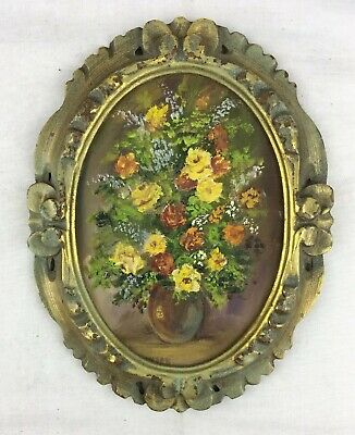#3 Vtg 5x7 oval Original Oil Painting Yellow & Orange Roses Gilt Period Frame