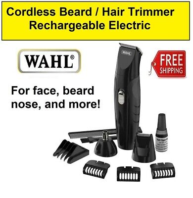 Wahl Cordless Beard Trimmer Hair Clippers Nose Rechargeable Electric Mens Shaver