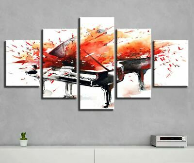Graffiti Music Piano Abstract 5 Pieces canvas Wall Art Print Picture Home Decor
