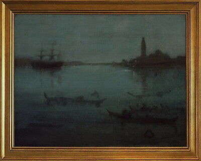 Westminster Bridge by Whistler Giclee Repro on Canvas Nocturne in gray and gold