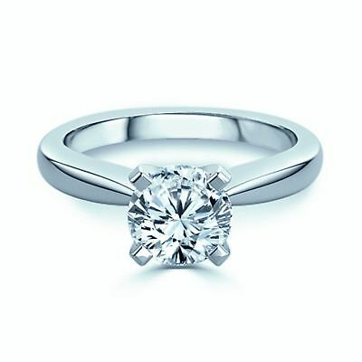 0.30 Ct Round Brilliant Cut Diamond Solitaire Engagement Ring In 14K White Gold
