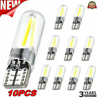 10x White T10 194 168 W5W COB LED CANBUS Silica Bright License Light Bulbs DC12V