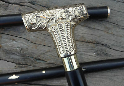 Gentlemens Classic Style Wooden Walking Stick Cane Brass Handle Nickel