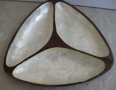 vintage retro MOTHER OF PEARL MOP inlayed divided WOODEN TEAK SERVING BOWL