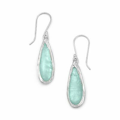 Ancient Roman Glass Pear Drop Earrings Fashion Earrings Womens Sterling Silver