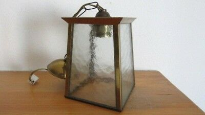 Alte  Laterne Lampe Messing Glas Deckenlampe