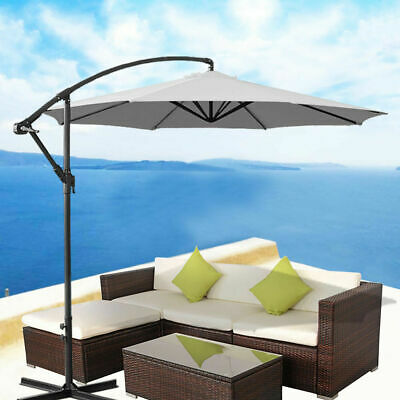 3M Patio Garden Parasol Cantilever Hanging Beach Banana Umbrella Crank Tilt Grey