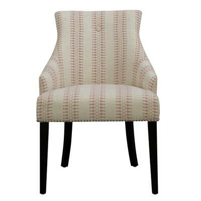 Home Fare Button Back Accent Chair in Cream/Red Geometric Pattern