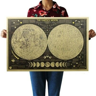 Vintage Paper Earth's Moon World Map Poster Wall Chart Bedroom Decor