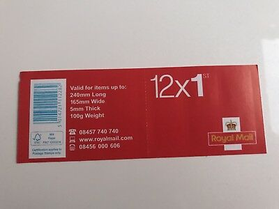 12 x 1st Class GENUINE Stamps First Class Royal Mail-Standard Book of 12 stamps