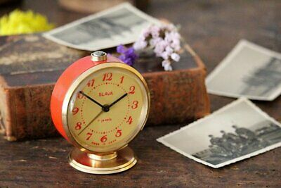 Small Alarm Clock - Red Desk Clock - Office Clock - Mechanical Vintage Clock - S
