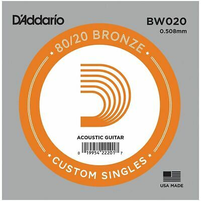 D'addario Single Acoustic Guitar String - Bw020 - 80/20 Bronze Wound - .020