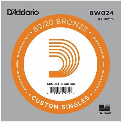 D'addario Single Acoustic Guitar String - Bw024 - 80/20 Bronze Wound - .024