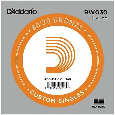 D'addario Single Acoustic Guitar String - Bw030 - 80/20 Bronze Wound - .030