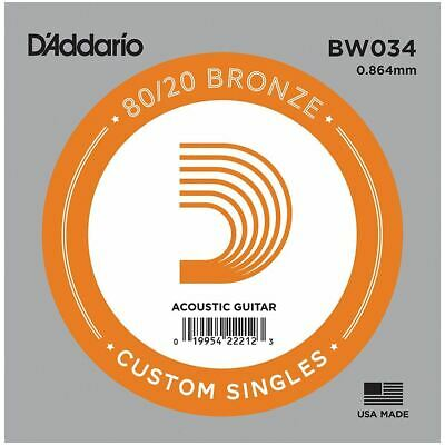 D'addario Single Acoustic Guitar String - Bw034 - 80/20 Bronze Wound - .034