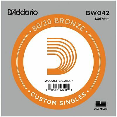 D'addario Single Acoustic Guitar String - Bw042 - 80/20 Bronze Wound - .042